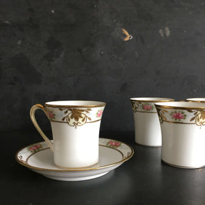 Antique Nippon Hot Chocolate Pot and Matching Cups - Set of 4 - Handpainted circa 1911-1920