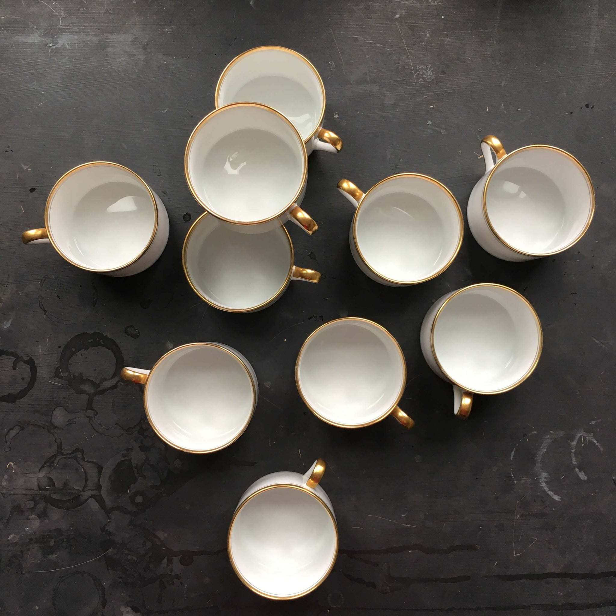 Vintage 1970's Fitz & Floyd Palais Flat Cups - Set of 10 White & Gold Striped Cups