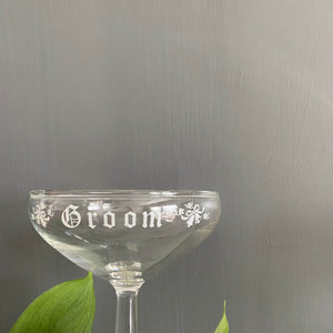 Vintage 1950s Champagne Glasses - Bride and Groom Toasting Glasses