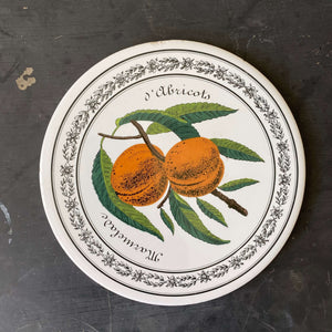 Vintage Round Tiles - French Fruit and Berry Design - Ceramic Trivets, Hot Plates, Wall Hangings