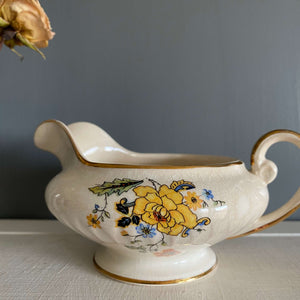 Vintage Creamer with Yellow Peonies and Orange Flowers - Atlas Globe China Company - c. 1925-1934 - Regal Poppy Pattern