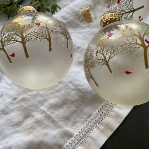 Vintage Christmas by Krebs Red Cardinal Glass Ornaments - Set of Three - Clear Glass