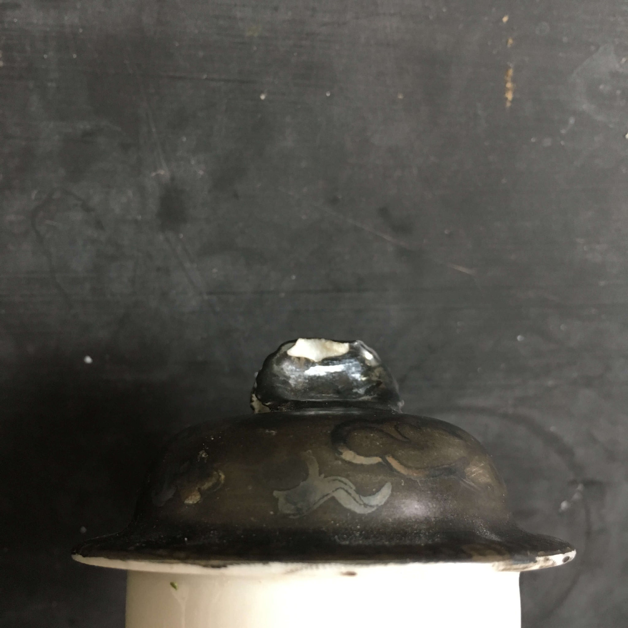 Rare Black Nippon Sugar Bowl with Dragon Pattern - Handpainted Porcelain Dragonware circa 1920's/1930's