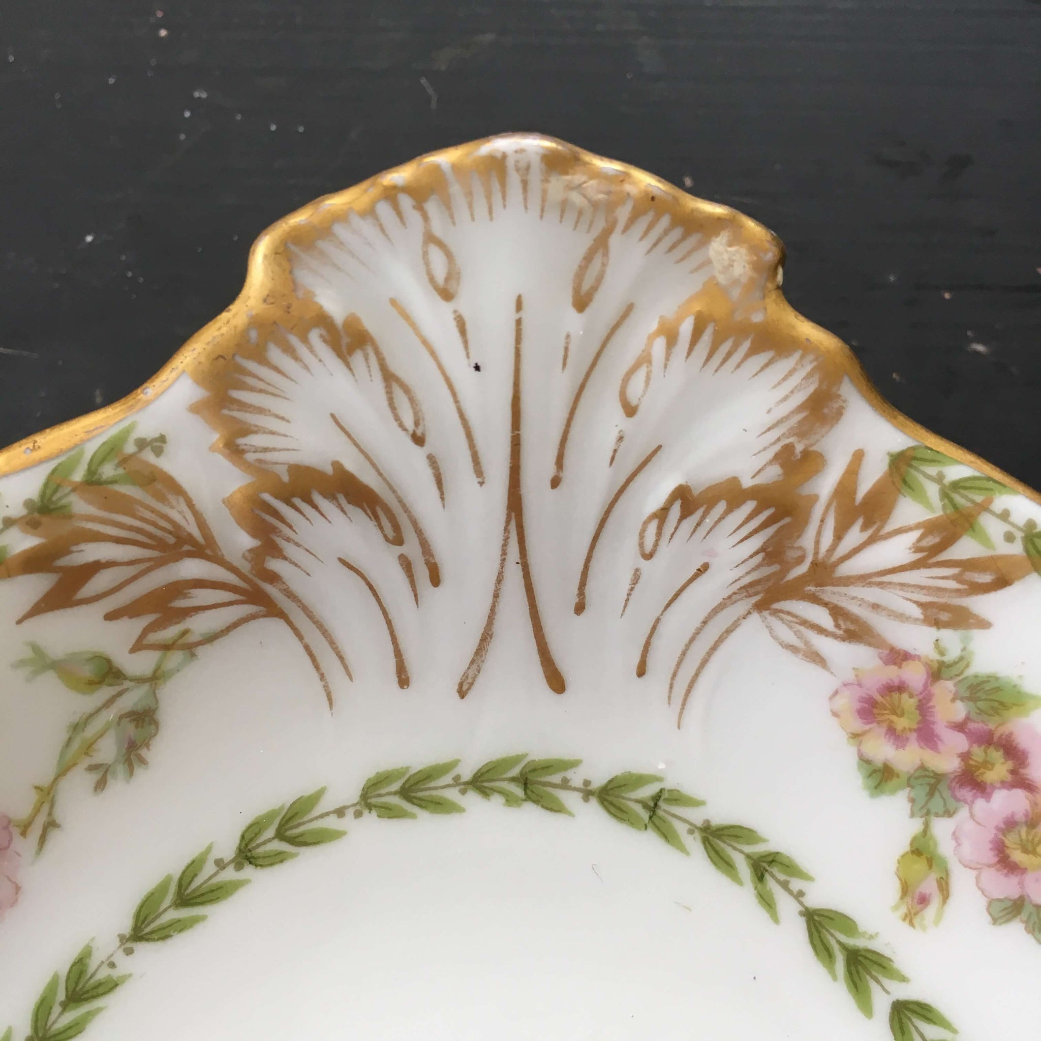 Antique CH Field Limoges Serving Dishes - GDA France - Set of Two Pink Green Gold Floral