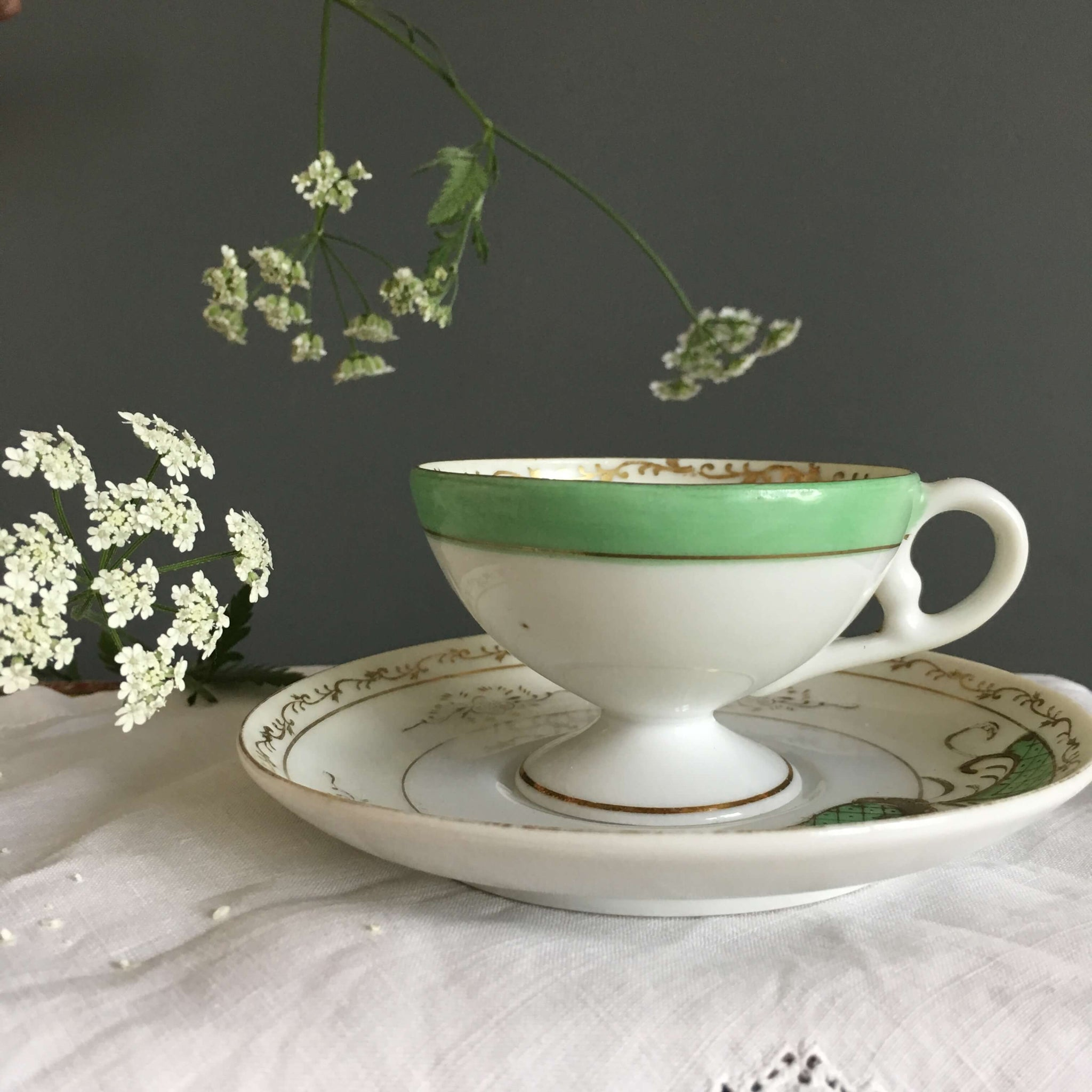 Vintage Royal Sealy Demitasse Cup & Saucer - Made in Occupied Japan circa 1945-1952 - Green and Gold