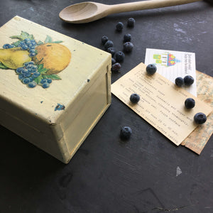 Vintage Metal Recipe Box with Decoupage Fruit - Heavy Duty Industrial Kitchen Storage Box
