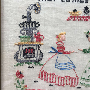 Vintage 1960's Embroidered Sampler - Bless My Kitchen Prayer - Framed Handstitched Folk Art