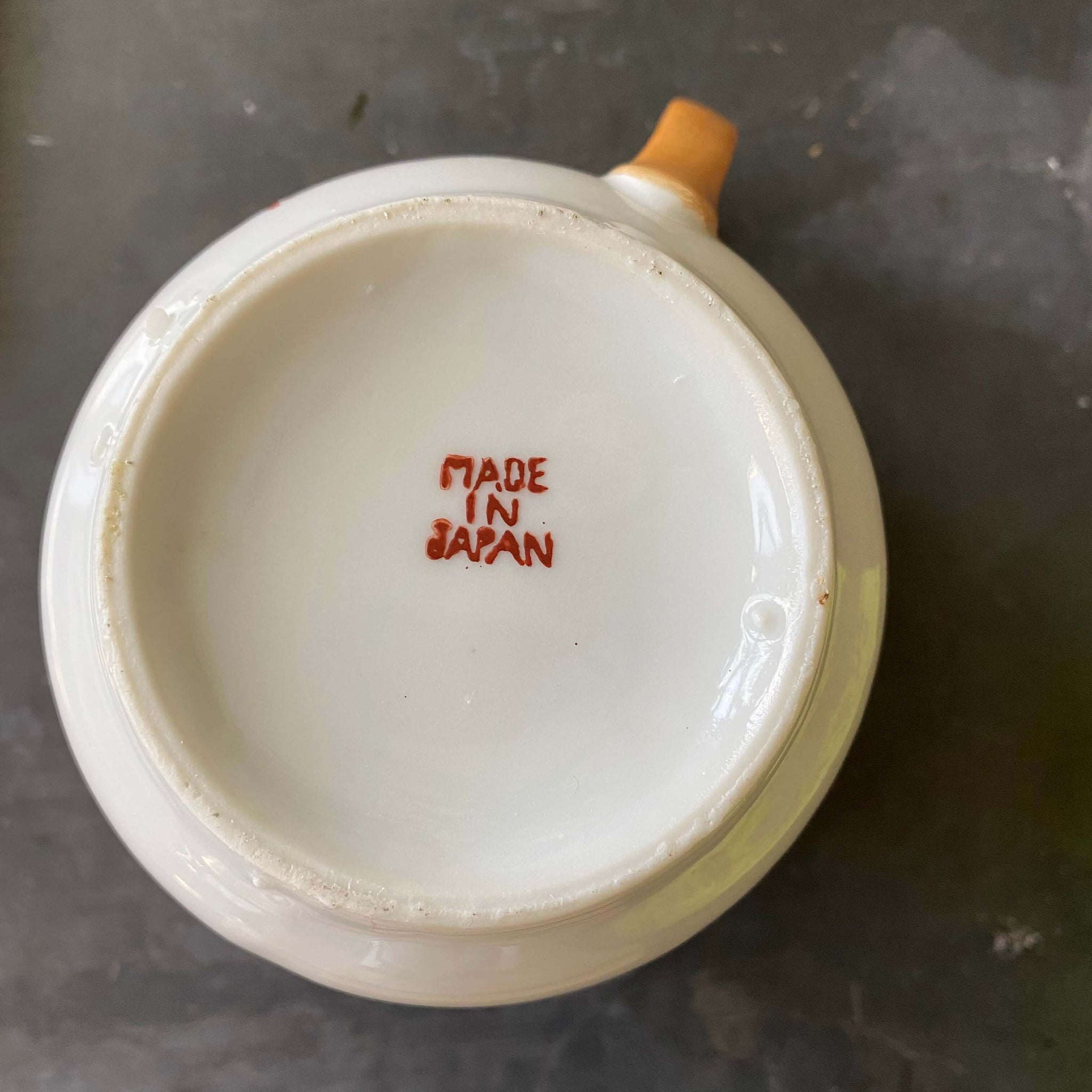 The Creamer of Many Calamities - Vintage Orange Lustreware Porcelain Creamer Made in Japan circa 1920-1940s