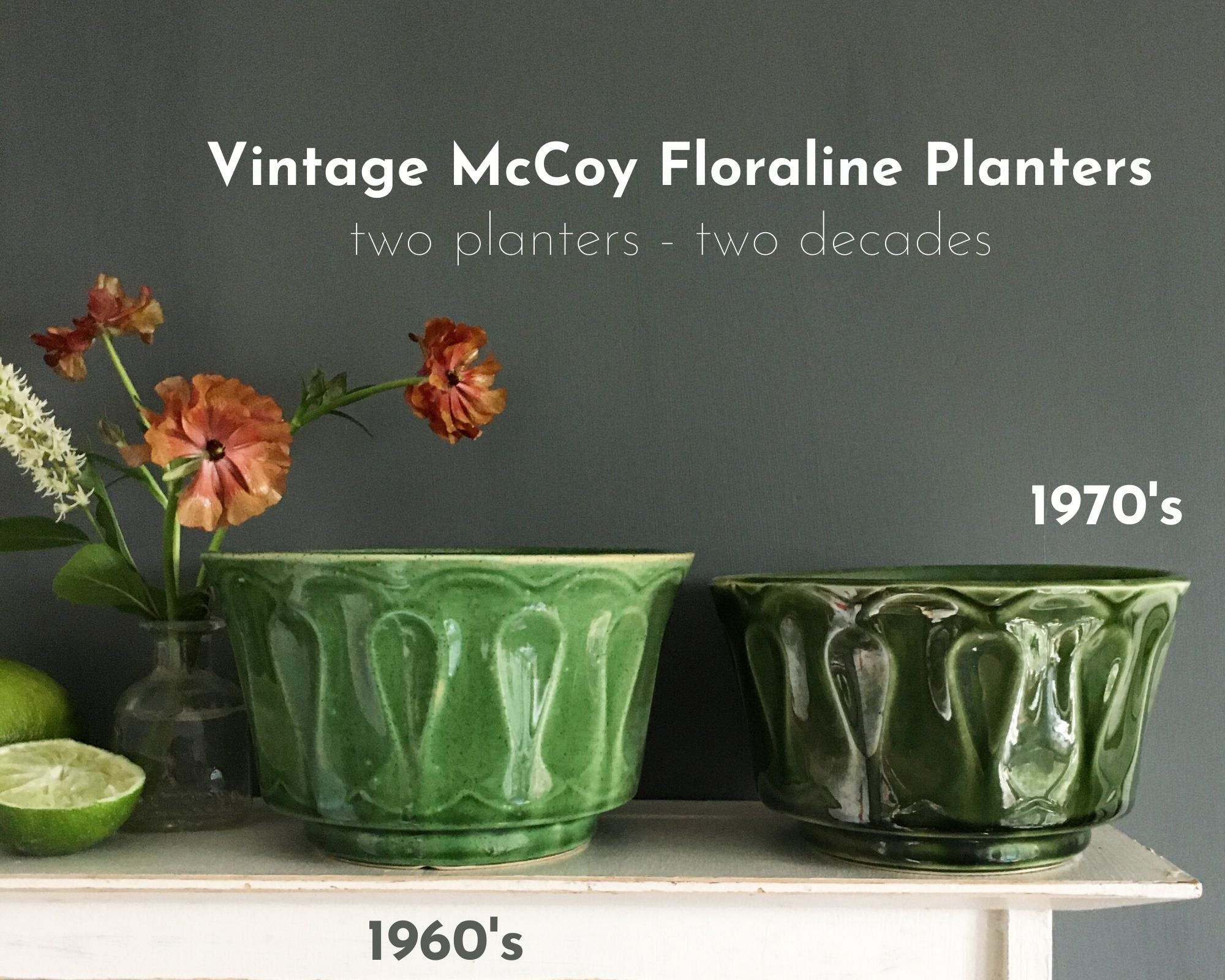 Vintage 1970s McCoy Pottery Planter - Green Floraline Pattern - Lancaster Colony Corporation Mark