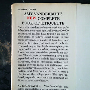 Amy Vanderbilt's New Complete Book of Etiquette - 1967 Edition - Midcentury Guide to Gracious Living