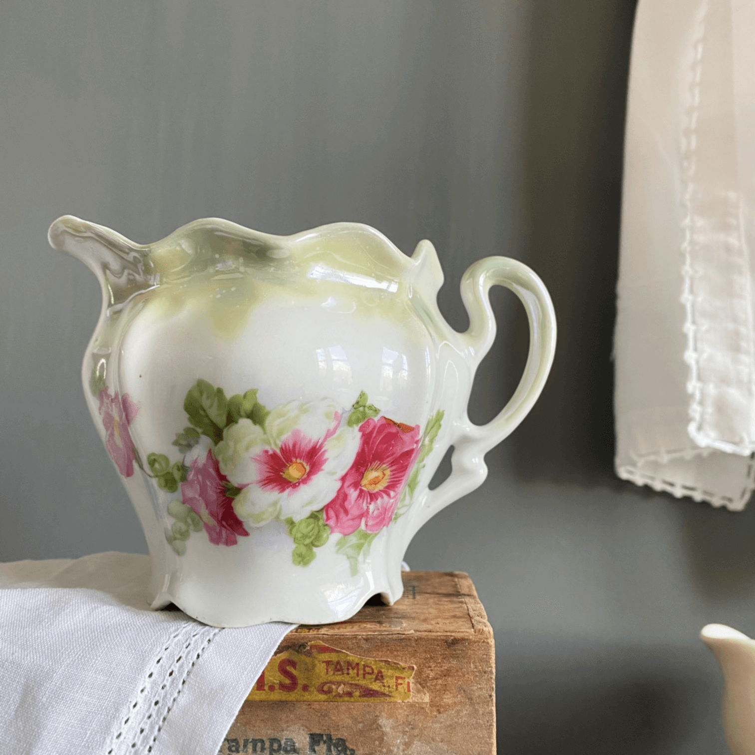 Antique Bavarian Porcelain Creamer - Green Lusterware with Pink and White Flowers Made in Bavaria c.1898-1904