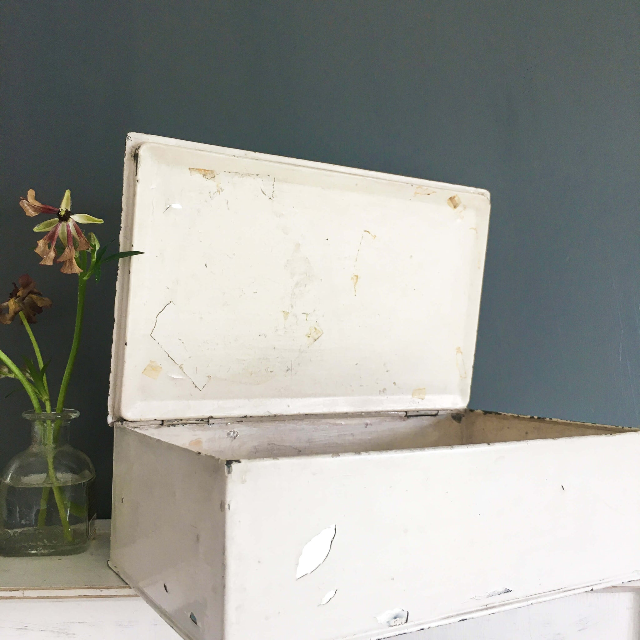Antique Weathered Metal Box with Painted Floral Folk Art circa 1920's