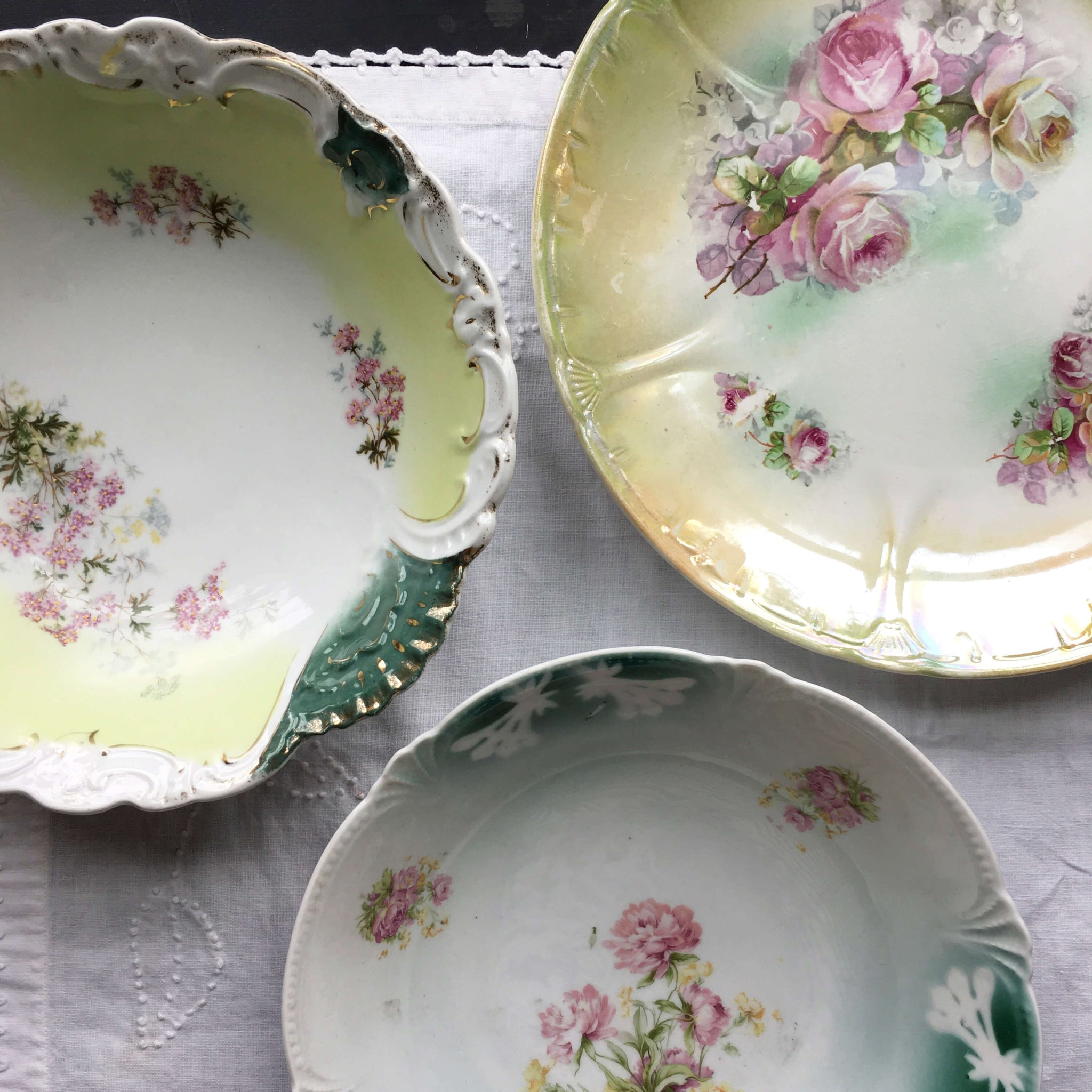 Antique Green and White Porcelain Bowl with Pink Flowers Gold Accents and Embossed Details