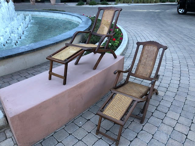 Rare Antique Steamer Chairs - Pair of Two circa late 1800s - Victorian Folding Deck Chairs - Plantation Recliners
