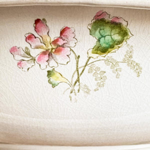 Rare Antique Harvard Wash Basin Bowl - Handpainted Flowers - Large Size