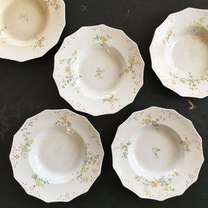 Antique W.H. Grindley Soup Bowls - Set of Five - Handpainted Semi Porcelain circa 1897