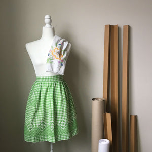 Vintage Green and White Gingham Half Apron with Embroidery - Midcentury Apron