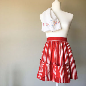 Vintage Red and White Striped Half Apron for Egg Gathering and Vegetable Harvest