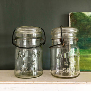 1920s/1930s Era Atlas E-Z Seal Lightening Jars - Pint Size Set of 2 - Bail Wire Glass Canning Jars