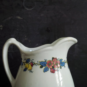 Vintage Ohio Restaurantware  Pitcher - Bailey Walker Vitreous China Pitcher - City of Cleveland circa 1930's with Floral Band