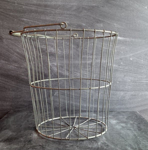Vintage-Style Reproduction Wire Basket - Large Size with Handle-  Industrial Farmhouse Style