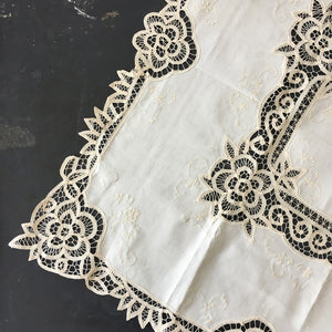 Handmade Batten Lace Tablecloth 36x36 - Made in Shandong China - Ecru Embroidery Lace Needlework