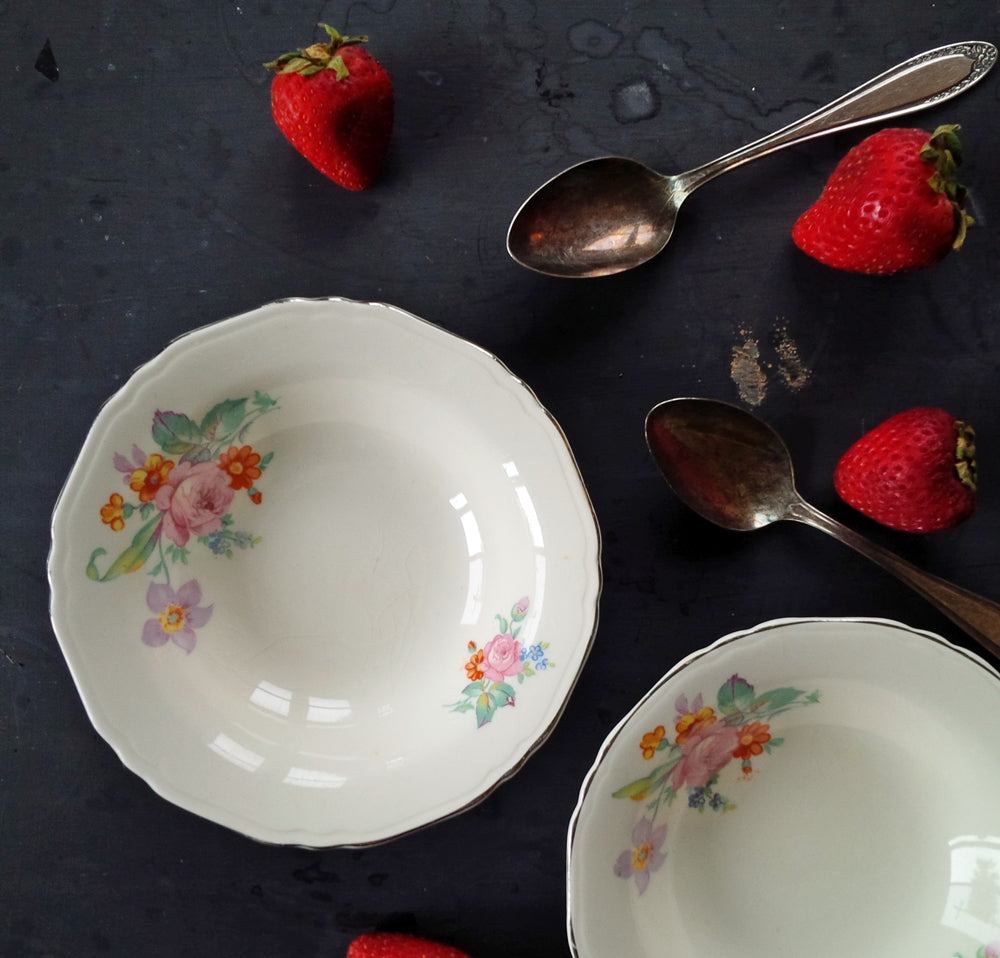 1940's Floral Berry Bowls Made by Crown Potteries Co - Set of Two