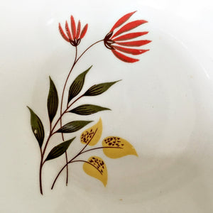 Vintage Midcentury Autumn Leaf Berry Bowls - Red Cardinal Flowers with Green and Gold Leaves - USA - Set of 2