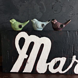 Vintage 1950s Salt & Pepper Shaker Birds - Set of Three Blue Green and Purple Ceramic Birds