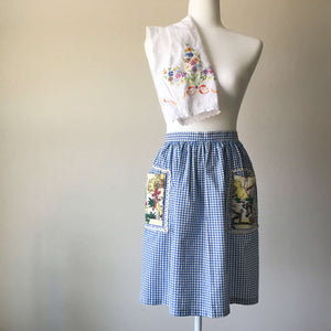 Vintage Blue Checkered Half Apron with Mexican Landscape Pockets and RicRac Edging