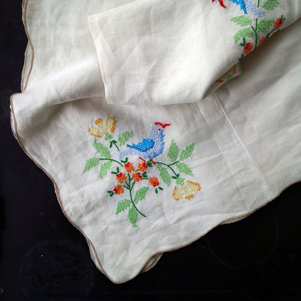Vintage Cross-Stitch Embroidery Tablecloth - 4'x4' Colorful Bluebirds and Floral Design