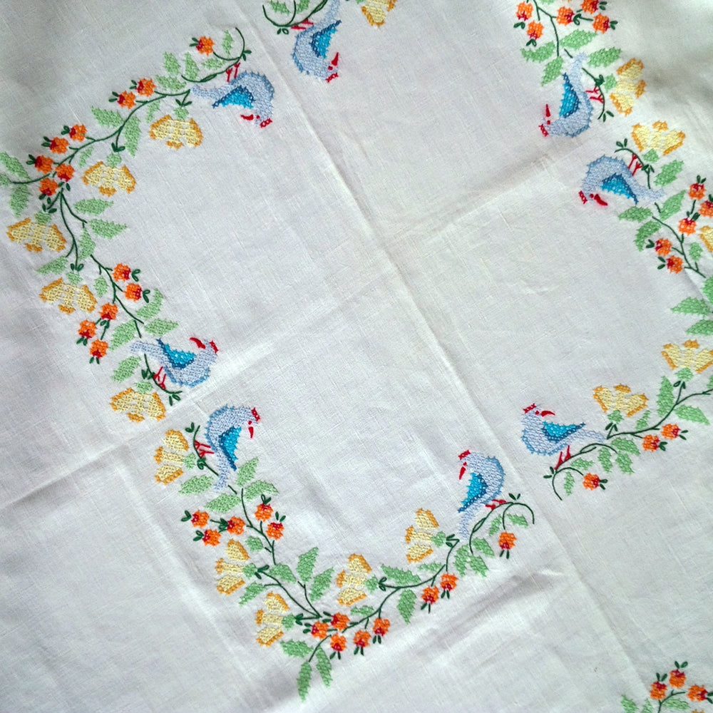 Vintage Cross-Stitch Embroidery Tablecloth - 48x48 Colorful Bluebirds and Floral Design