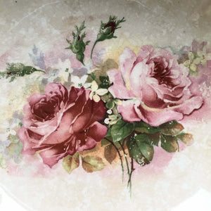 Vintage 1920s Era Lustreware Serving Bowl - Pink Roses - Art Deco Style Embossed Edges