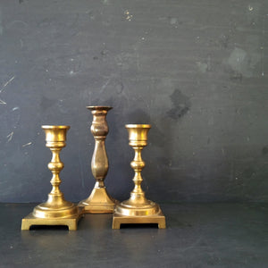 "Vintage Solid Brass Candlesticks - Set of Three - Candle Holders - 5""-6"" Inches Tall"