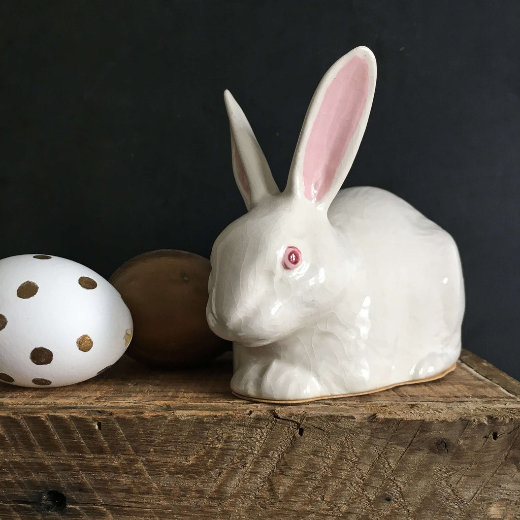 Vintage Ceramic Bunny Rabbit Cotton Ball Holder - Table Centerpiece - Easter Decor