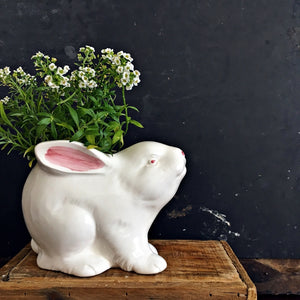 Vintage White Rabbit Planter - Made in Japan - Pink & White Bunny Rabbit