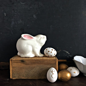 Vintage White Rabbit Planter - Made in Japan - Pink & White