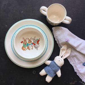 Vintage Mikasa Children's Dish Set - Plate, Bowl & Cup - Do-Re-Mi Pattern