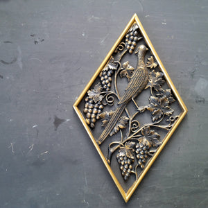 Vintage Burwood Wall Plaque - Bird in the Grapevines No. 0251-3 - 1970s Home Decor, Bar Accents, Kitchen Art, Gold Metallic