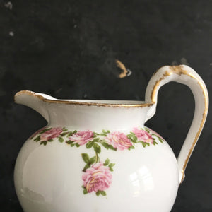 Antique Porcelain French Creamer  - Pink Roses - Charles Ahrenfeldt - Made in France