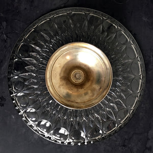 Vintage Italian 1960's Cut Glass Cake Stand with Silver Plated Pedestal - Leonard Crystal