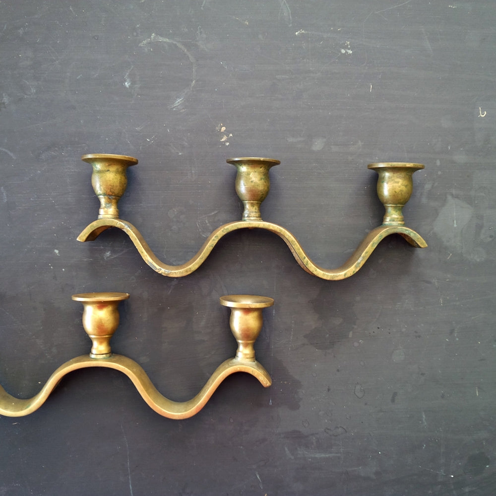 Rare Vintage Brass Candle Holders - Rolling Wave Style - Set of Two