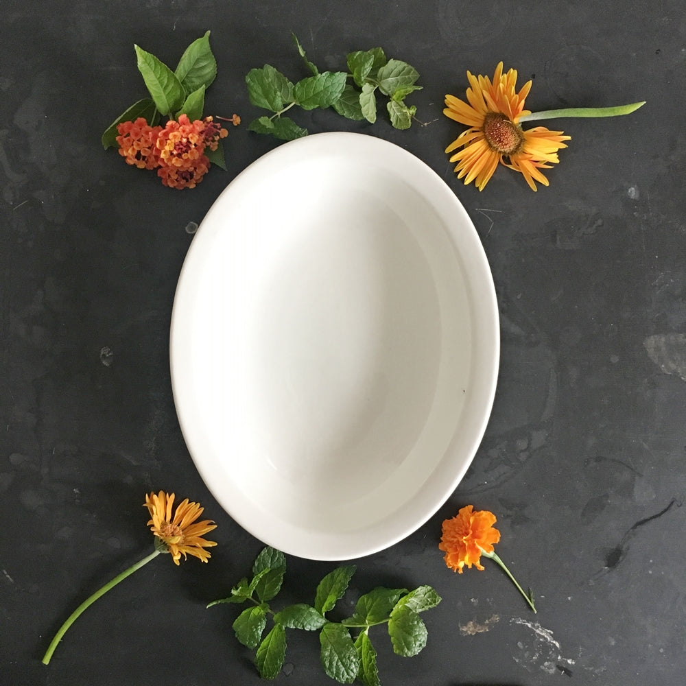 1940's Carr China Restaurantware Bowl - Classic White Hotelware - Large Oval Shaped Serving Bowl
