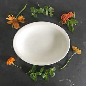 "1940's Carr China Restaurantware Bowl - Classic White Hotelware - 12"" Oval Shaped, Large"