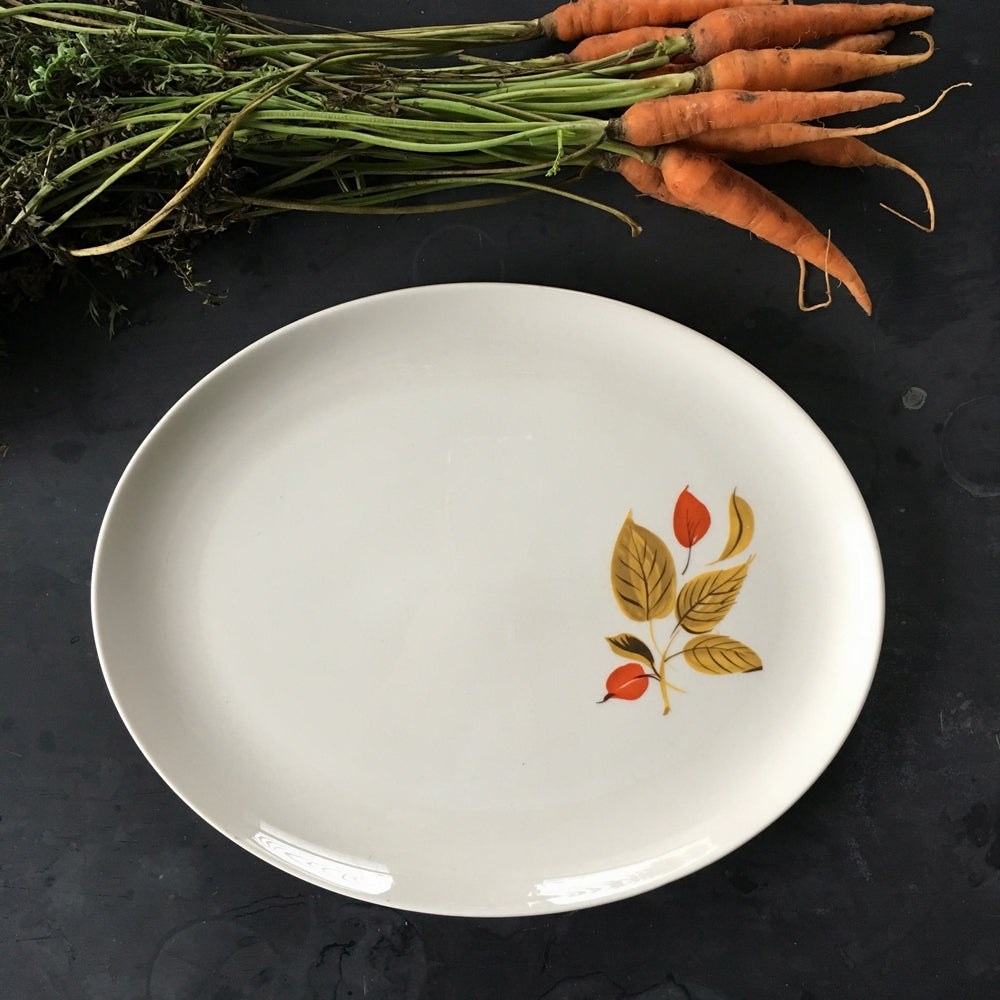 Vintage 1960's Salem China Platter - Mandarin Pattern - Red and Mustard Yellow Leaves