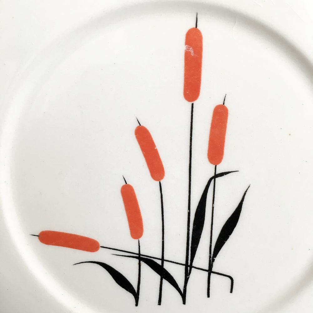 1940's Covered Refrigerator Dish - Cattails Pattern By Universal Pottery - Bowl with Matching Lid