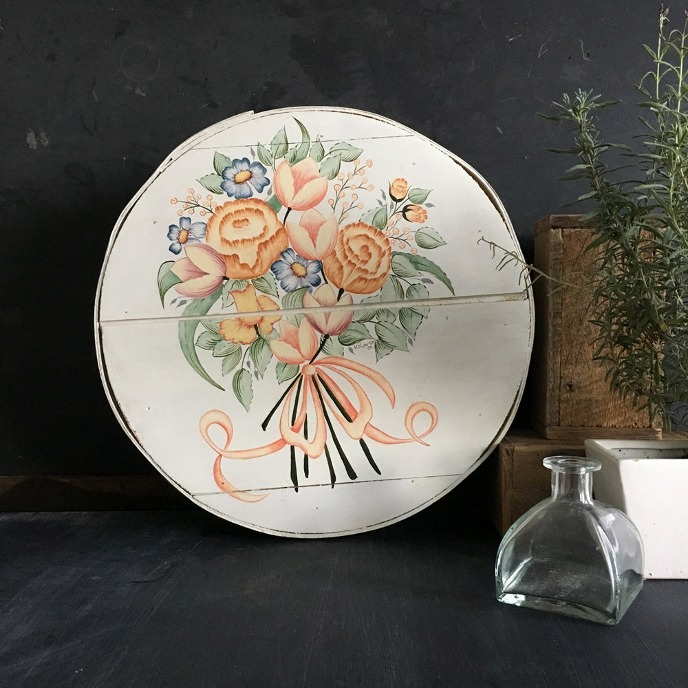 Vintage Handpainted Wood Cheese Box Round - Floral Painting Signed -  1980's Dufeck Painted Wood Box