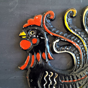 Metal Folk Art Chicken - Vintage Wall Plaque - Artistic Kitchen -  Left Facing Chicken