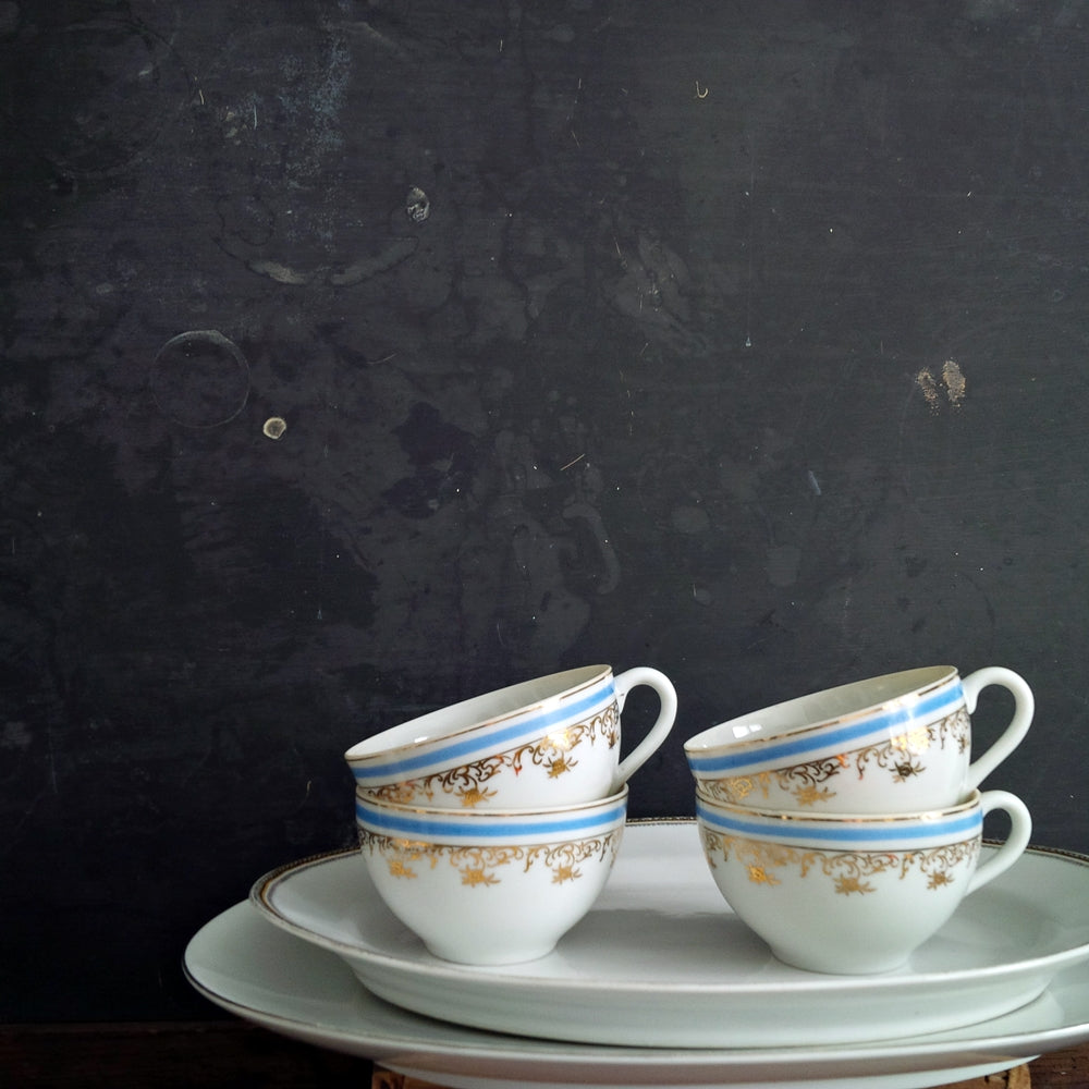 Set of Four Porcelain Chikaramachi Teacups & Saucers - Handpainted Blue & Gold - Circa 1928-1945