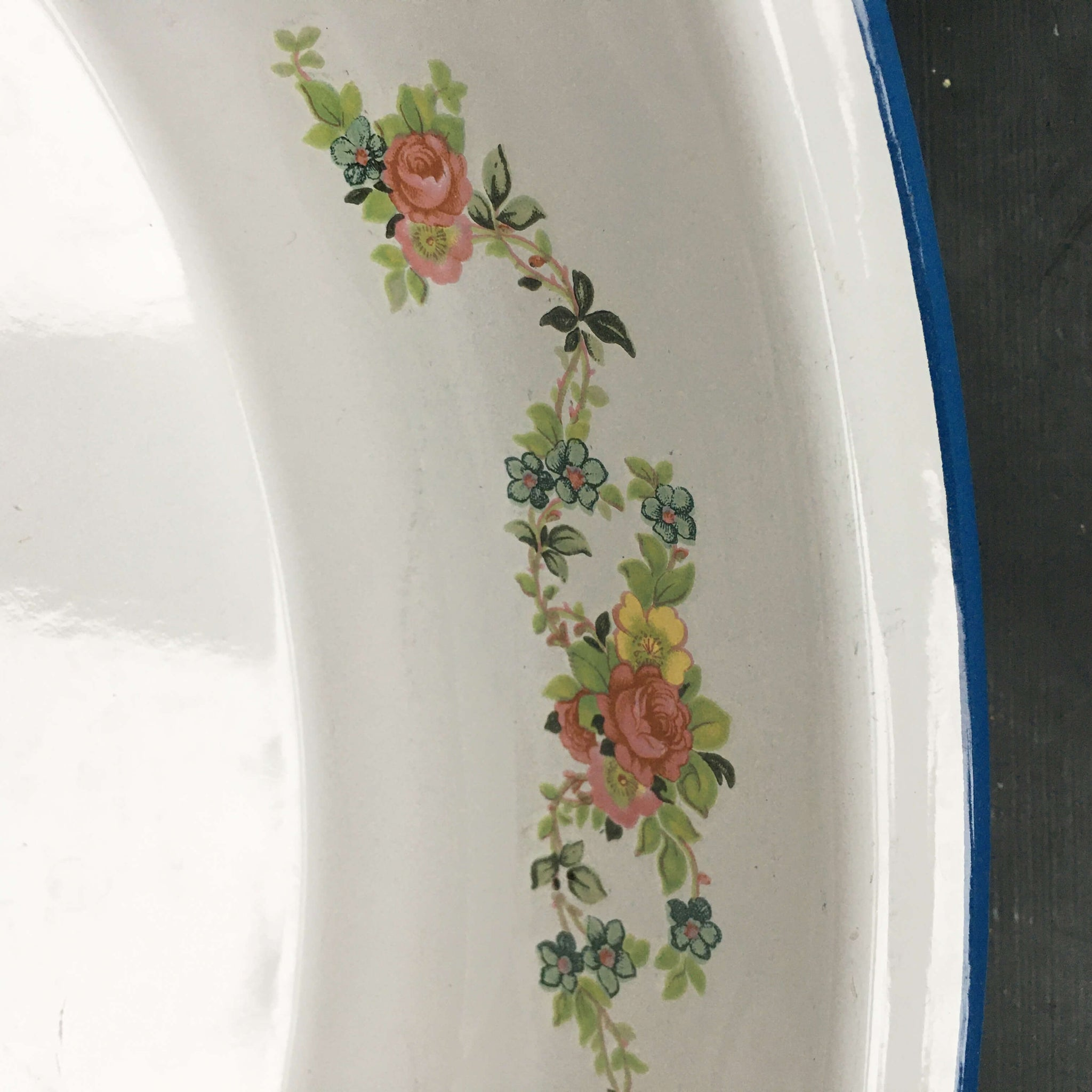 Vintage Cinsa Enamelware Oval Serving Bowl - Floral Pattern - Made in Mexico  circa 1970s